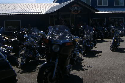 Motorcycles lined up outside of Lawrence's.