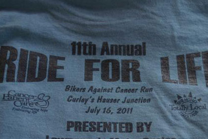 Close up of 11th Annual Ride for Life T-shirt.