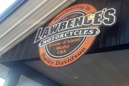 Lawrence's Motorcycles sign.