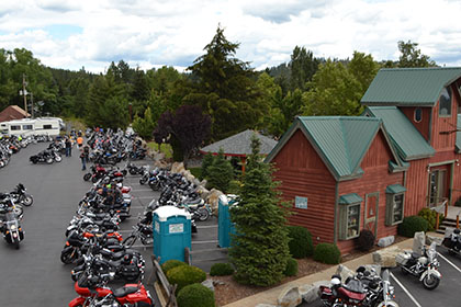 Motorcycles and some Ride for Life volunteers.