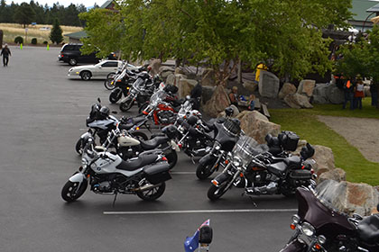 Motorcycles in the parking lot.
